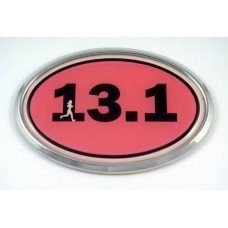 13.1 Pink Oval 3D Chrome Car Emblem