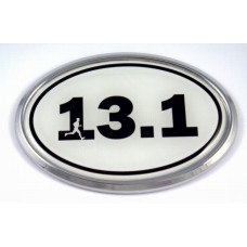 13.1 White Oval 3D Chrome Car Emblem