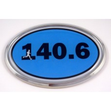 140.6 Blue Oval 3D Chrome Car Emblem