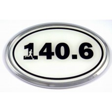 140.6 White Oval 3D Chrome Car Emblem