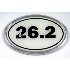 26.2 White Oval 3D Chrome Car Emblem