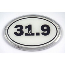 31.9 White Oval 3D Chrome Car Emblem