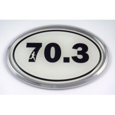 70.3 White Oval 3D Chrome Car Emblem