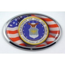 Air Force with USA Flag Oval Chrome Oval 3D Domed Emblem