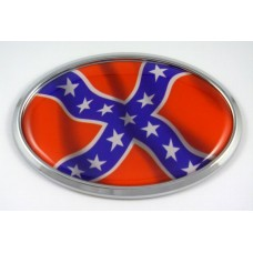 American Rebels Wave Flag Oval 3D Chrome Emblem