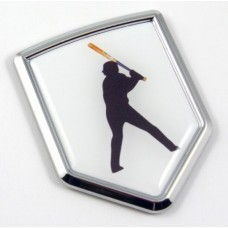 Baseball Batter 3D Shield Chrome Emblem Domed Sticker