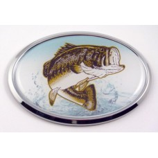 Bass Fishing 3D Oval Emblem Domed Sticker