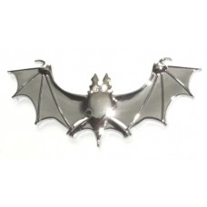Bat Solid Metal Chrome Emblem with Crystal Eyes