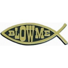 Blow Me Fish Chrome Car Emblem