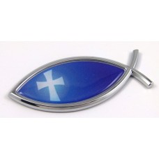 Blue Cross Jesus Fish 3D Auto Emblem
