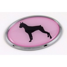 Boxer Pink Oval 3D Adhesive Chrome Emblem