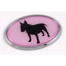 Bull Terrier Pink Oval 3D Adhesive Chrome Emblem