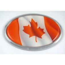 Canada Wave Flag Oval 3D Chrome Emblem