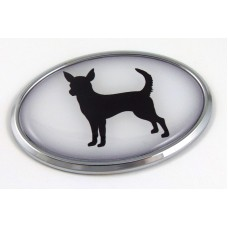 Chihuahua 3D Adhesive Oval Chrome Pet Emblem