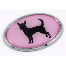 Chihuahua Pink Oval 3D Adhesive Chrome Emblem