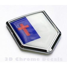 Christian Flag Emblem Chrome Crest Decal Sticker