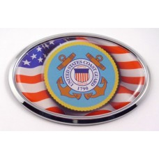 Coast Guard Logo with USA Flag Oval Chrome 3D Domed Emblem