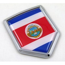 Costa Rica Flag Crest 3D Domed Adhesive Chrome Emblem