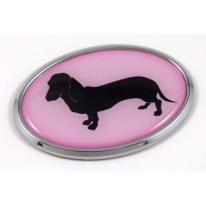 Deschaund Pink Oval 3D Adhesive Chrome Emblem