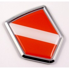 Diver Flag Logo 3D Shield Emblem Domed Chrome Sticker