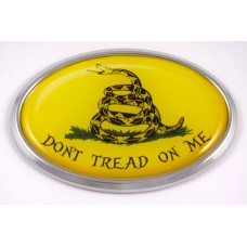 Dont Tread On Me Flag Oval 3D Chrome Emblem