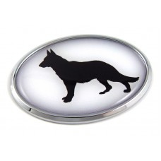 German Sheppard 3D Adhesive Oval Chrome Pet Emblem