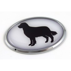 Golden Retriever 3D Adhesive Oval Chrome Pet Emblem