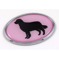 Golden Retriever Pink Oval 3D Adhesive Chrome Emblem
