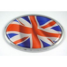 Great Brittian Wave Flag Oval 3D Chrome Emblem