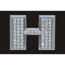 Chrome Letter Style Crystal - H