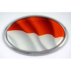 Indonesia Wave Flag Oval 3D Chrome Emblem