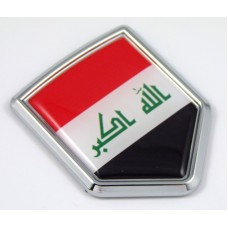 Iraq 3D Chrome Flag Crest Emblem Car Decal