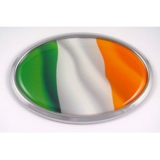 Ireland Wave Flag Oval 3D Chrome Emblem