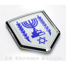 Israel Flag Israeli Emblem Chrome Crest Decal Sticker