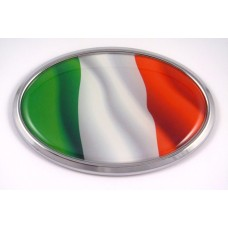 Italian Wave Flag Oval 3D Chrome Emblem