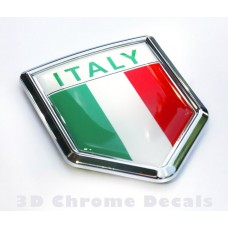 Italy Italian Flag Crest Chrome Emblem Decal 3D Sticker