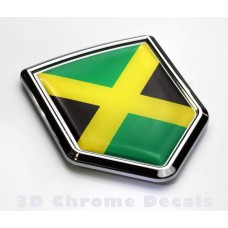 Jamaica Flag Jamaican Emblem Chrome Crest Decal Sticker