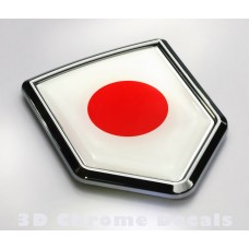 Japan Flag Japanese Emblem Chrome Crest Decal Sticker