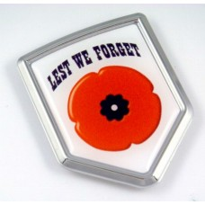 Lest We Forget Shield 3D Triple Chrome Plated Adhesive ABS Emble