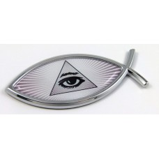 Mason Pyramid Eye Jesus Fish 3D Adhesive Car Emblem