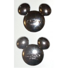 Mickey Ears Disney Solid Metal Chrome Plated Emblems PAIR