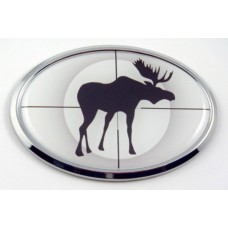 Moose Hunting 3D Oval Emblem Domed Sticker