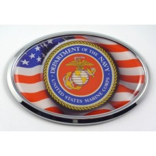 Marine Logo with USA Flag Oval Chrome Oval 3D Domed Emblem
