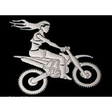OFF ROAD Girl on Bike Chrome Emblem