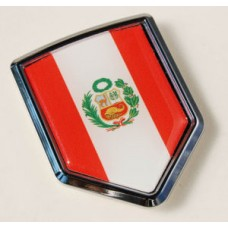 Peru Peruvian Flag Crest Chrome Emblem 3D Decal Sticker