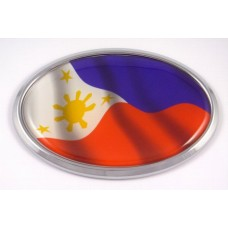 Philippine Wave Flag Oval 3D Chrome Emblem