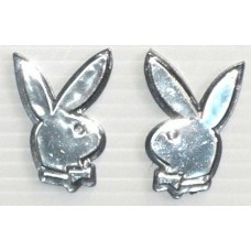 PLAYBOY LOGO Chrome with Black Small Emblems - PAIR