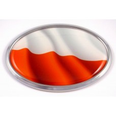 Poland Wave Flag Oval 3D Chrome Emblem