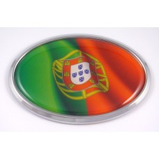 Portugal Wave Flag Oval 3D Chrome Emblem