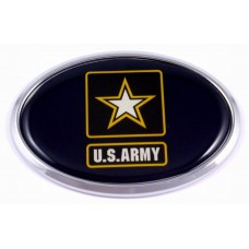 Army 3D Oval Triple Chrome Plated Adhesive ABS Domed Emblem